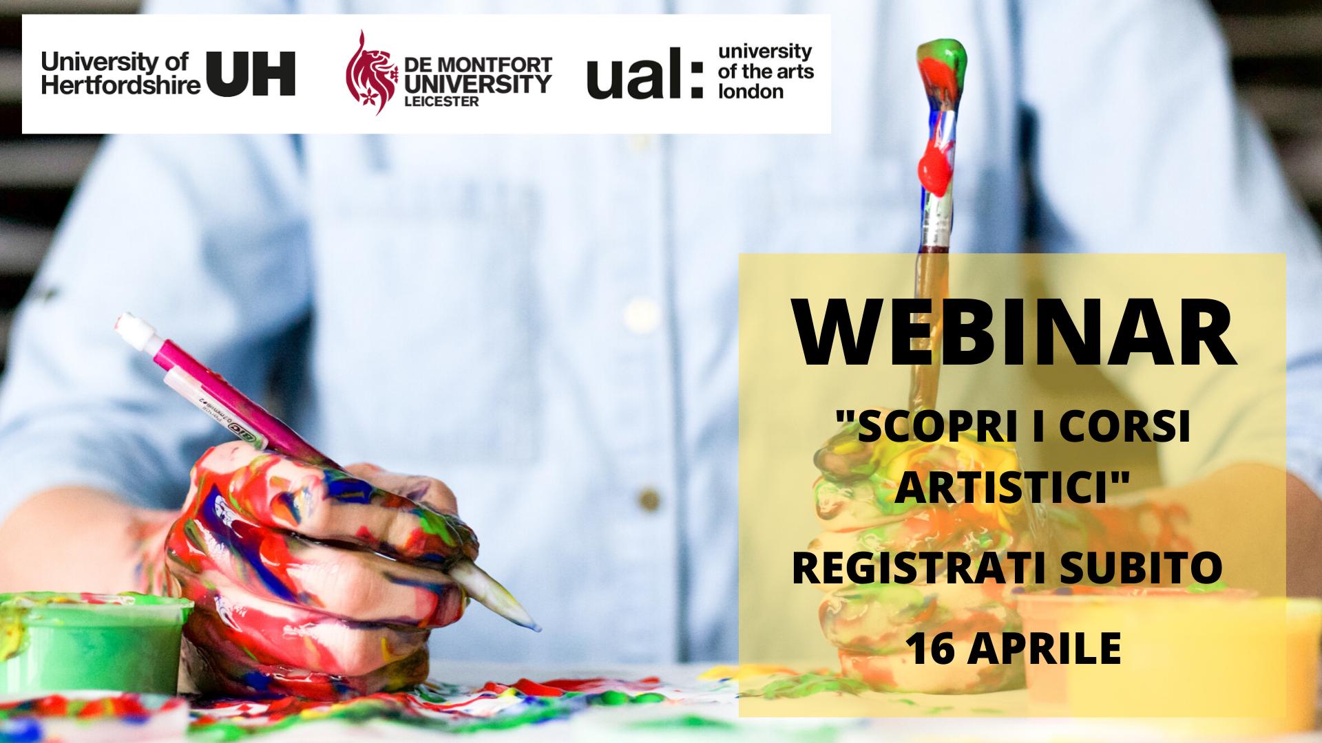 Scopri gli Artistic Courses. Persona che sta pitturando. Webinar il 16 aprile registrati