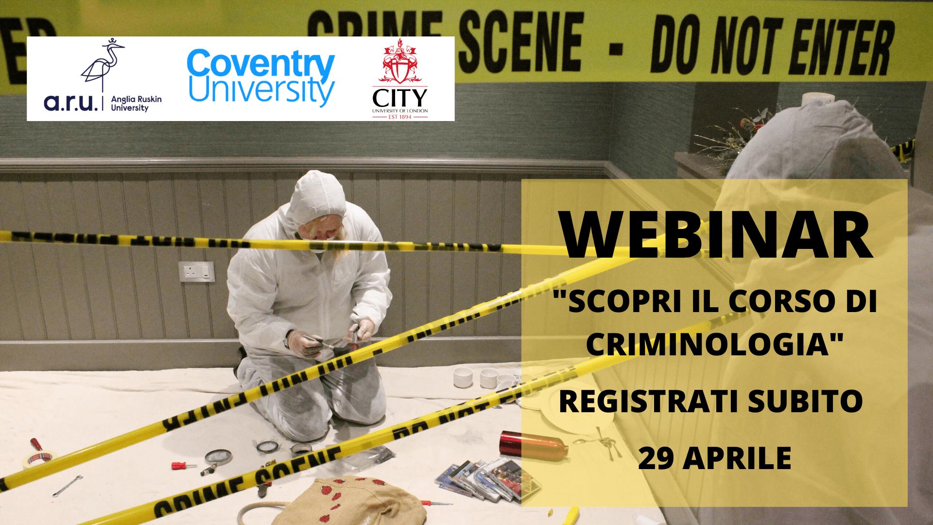Scopri Criminologia, crominology, registrati all'evento online il 29 aprile