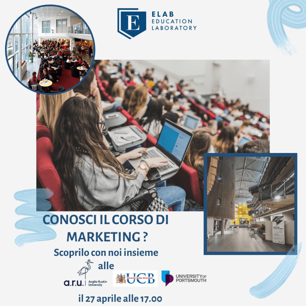 Scopri Marketing, Anglia Ruskin University, University College Birmingham, Portsmouth University