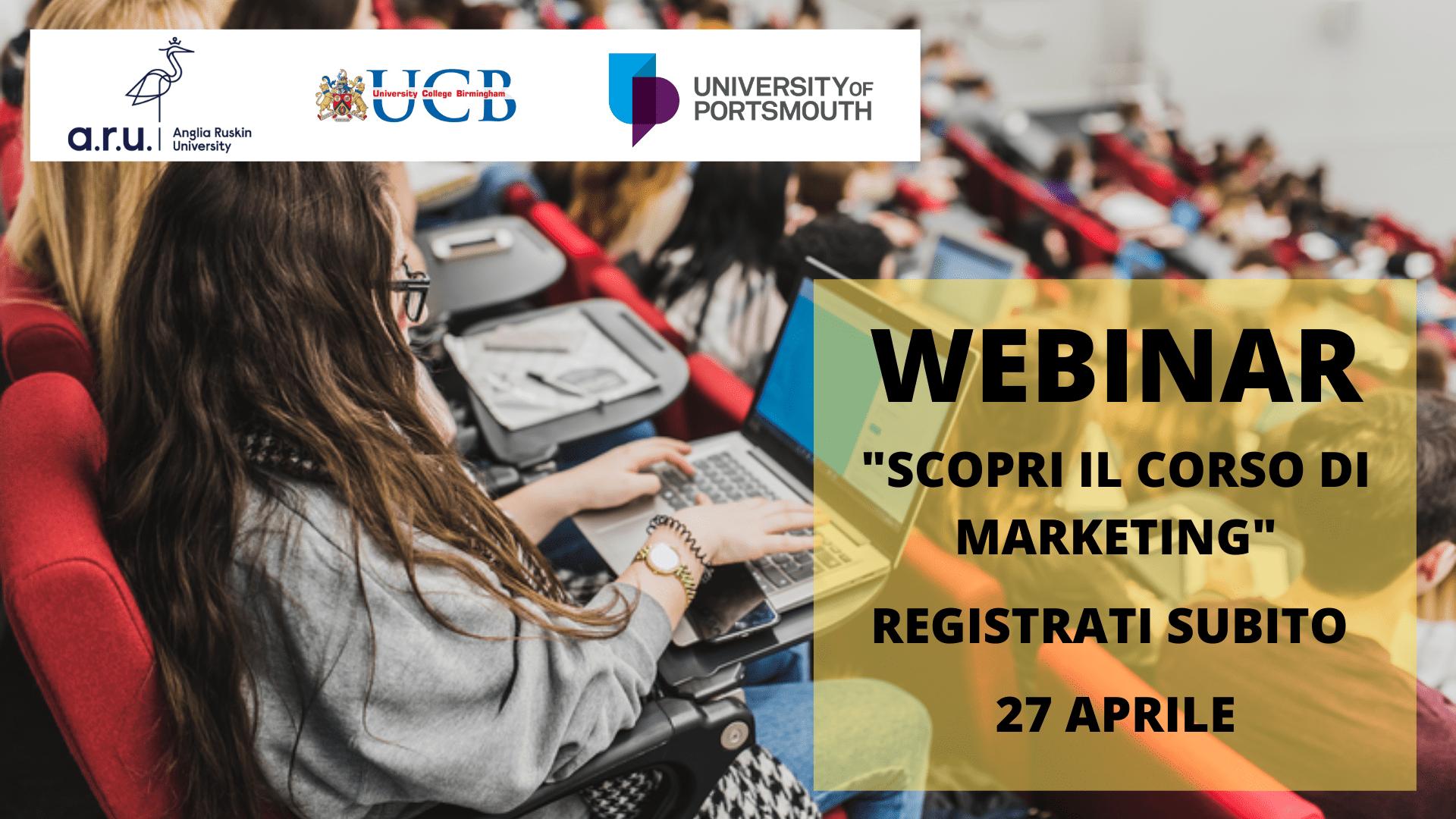 Scopri Marketing, registrati all'evento del 27 aprile università del Regno Unito